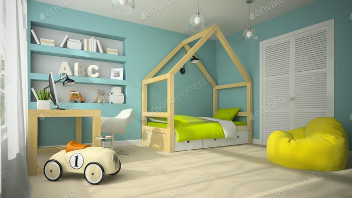 Interior of children room with toy car 3D rendering 4
