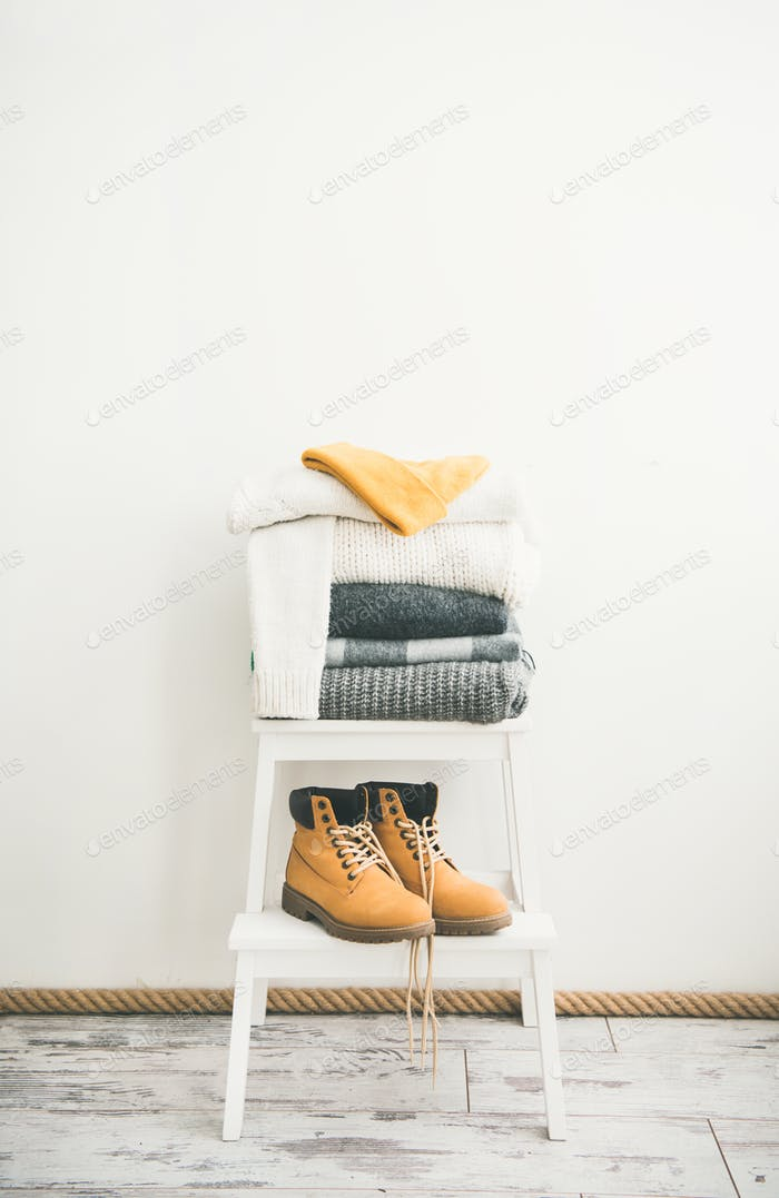 Warm clothing, blankets, boots and cap for cold weather