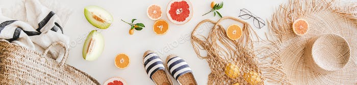 Summer mood layout with accessories and fruits, wide composition