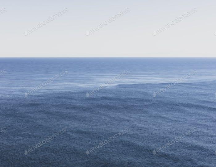 Vista del océano expansivo, horizonte y cielo al atardecer, costa norte de Oregón