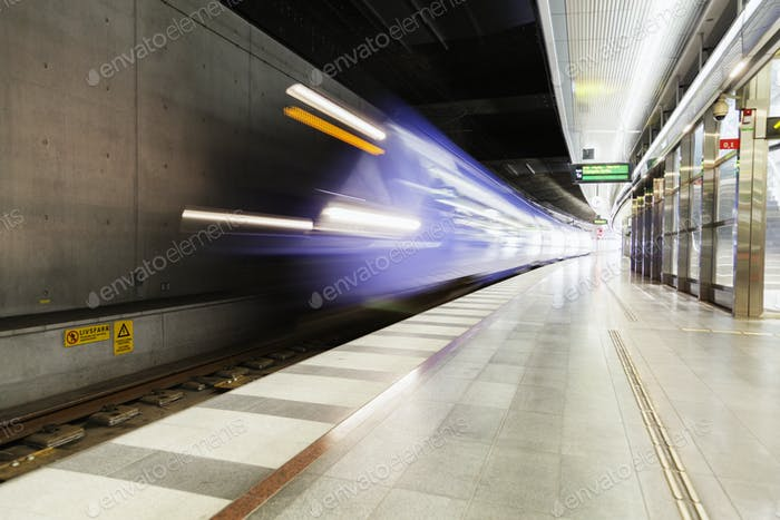 Train arriving at platform