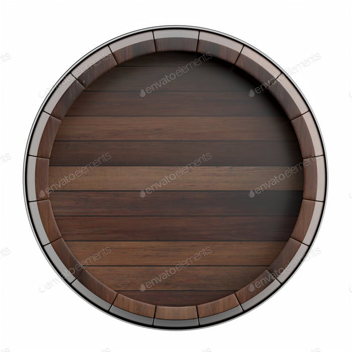 Wooden barrel top view isolated on white background 3d illustration