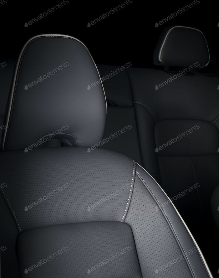 Modern sport car  black leather interior. Part of  leather car seat details.