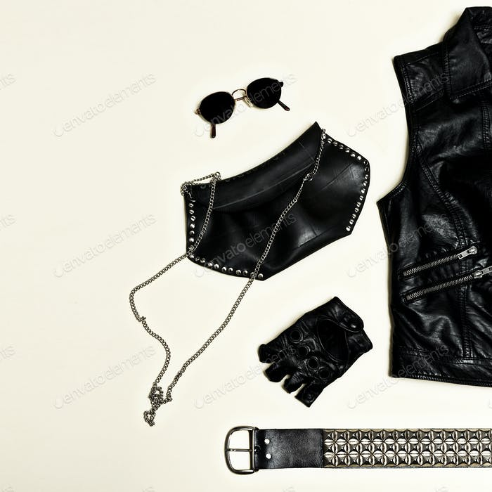 Black fashion set. Backpack Black Vest and black accessories. Gl