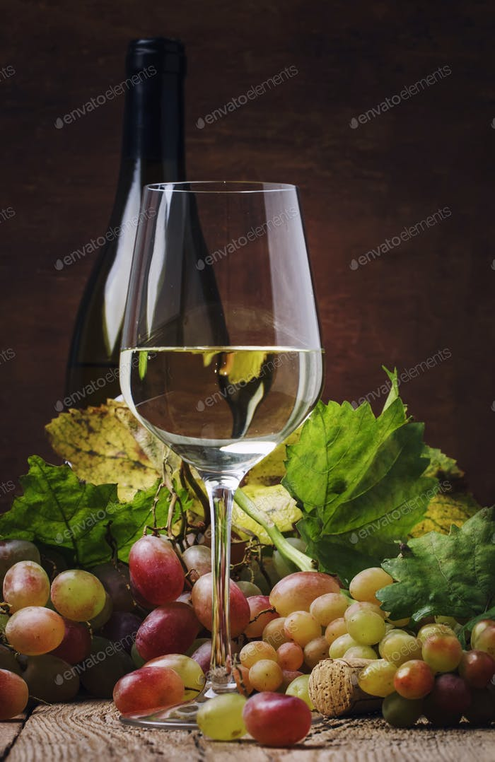 Dry white wine in glass