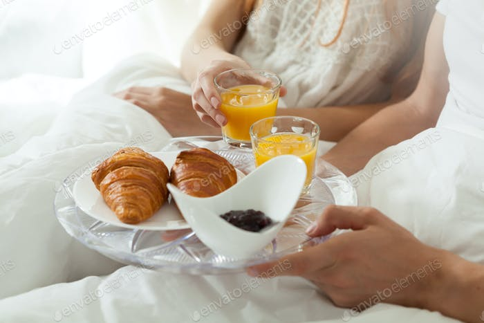 Eating breakfast in bed