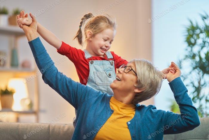 girl and her grandmother