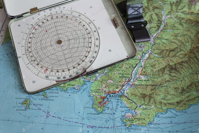 Map And Navigational Instruments For Laying The Way.