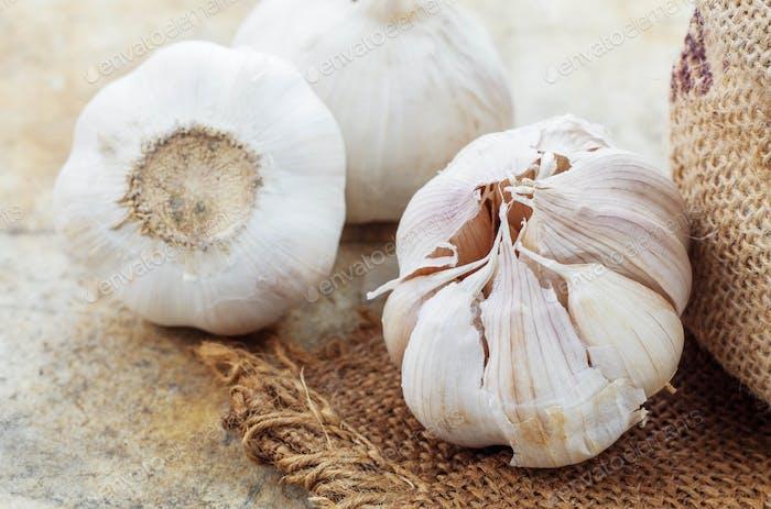 Garlic on sackcloth