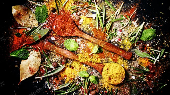 Spices background, food background, mix of oriental spices, herbs and seasonings