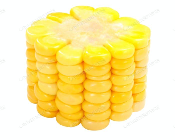Piece of corn cob, paths