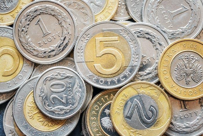 Imagen de cerca de las monedas Zloty polacas.