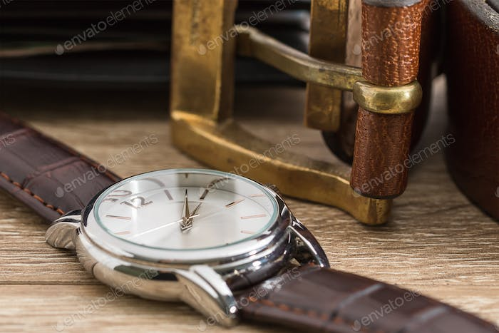 Wristwatch and brown leather belt-2