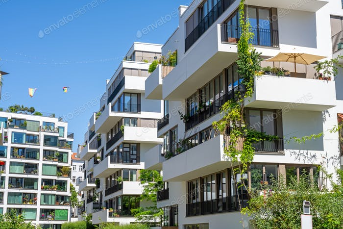 Modern luxury apartment buildings