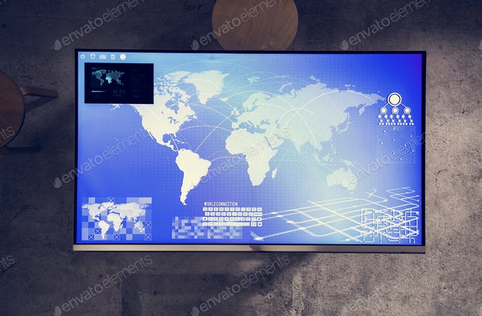 Cyber space table with a world map on screen
