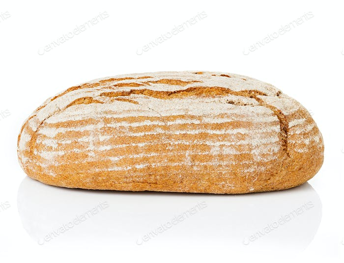 Large loaf of rye bread isolated on white