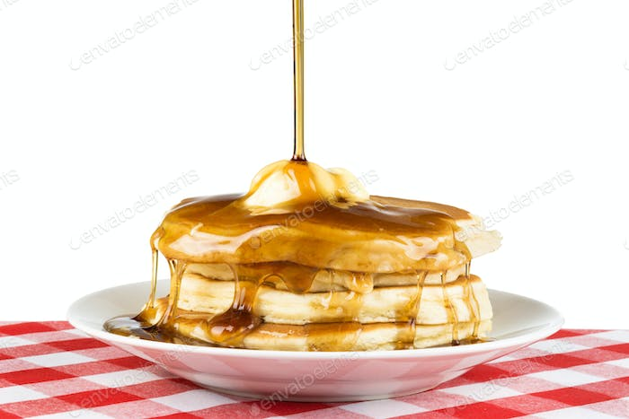 Breakfast pancakes and syrup
