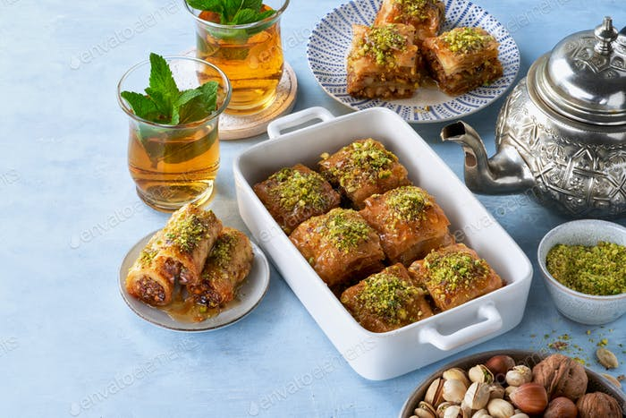 Baklava, Middle eastern different delights.