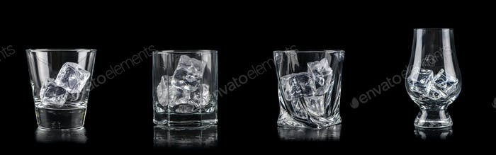 Set of four glasses with cub ice for alcoholic drinks