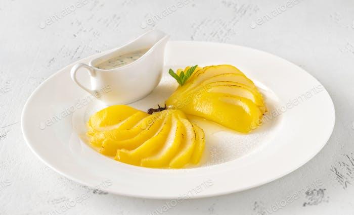 Saffron Poached  Pears