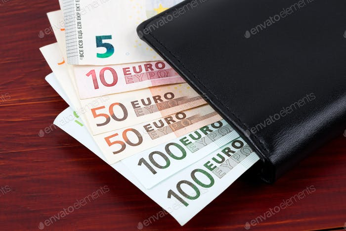 European currency in the black wallet