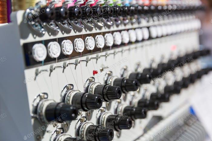Professional sewing machine closeup, nobody