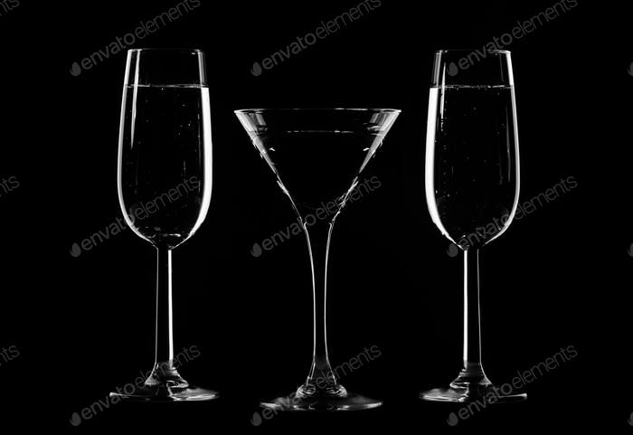 Stylish composition of three glasses