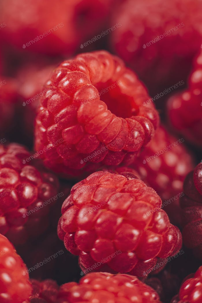 Raspberries Macro Close Up