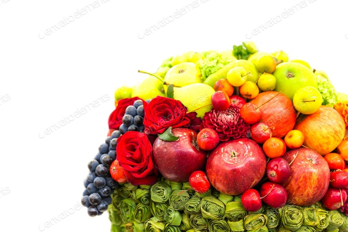 Fruits and flowers composition, fresh harvest