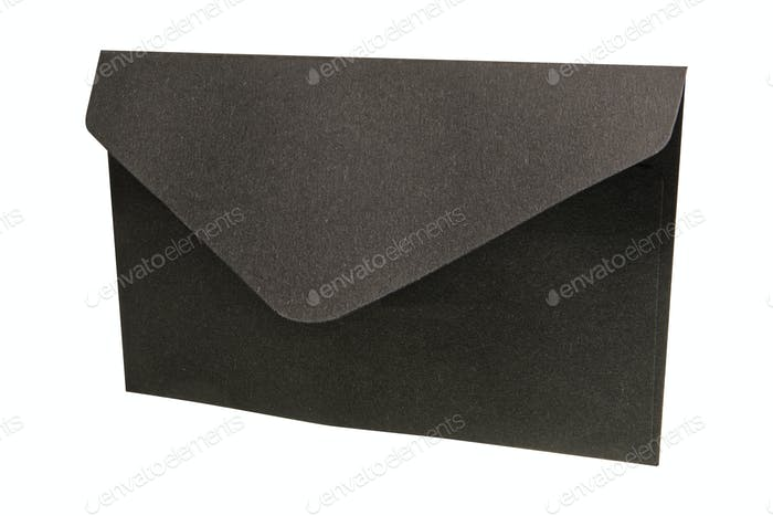 Black envelope on a white background