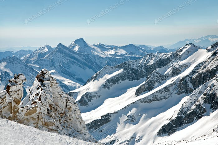 Scenic weallpaper from high mountain in Austrian Alps during pea