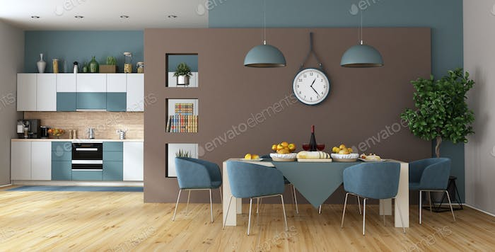 Modern dining room with kitchen on background