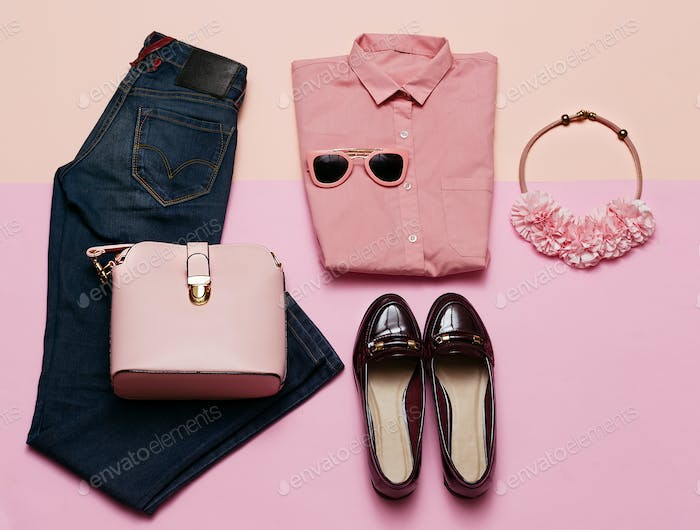 Romantic clothes set. City casual fashion. Spring. Stylish acces