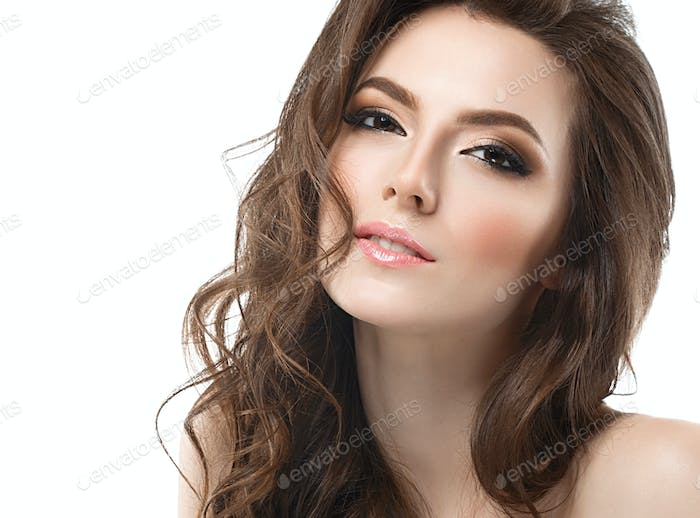 Portrait of beautiful young curly hair woman girl. Fashion photo