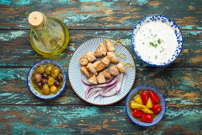 Greek souvlaki and appetizers from above