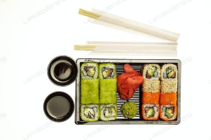 Fresh suhi set on white background