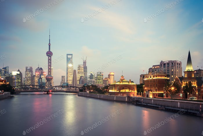 shanghai in evening lights are lit