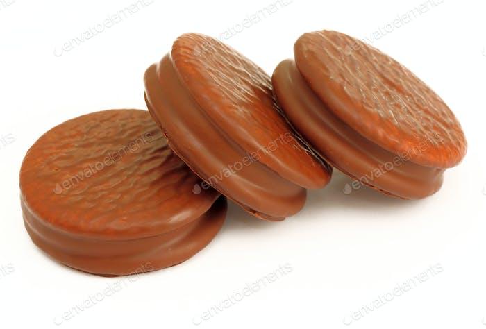 Stack of three chocolate cream  cookies