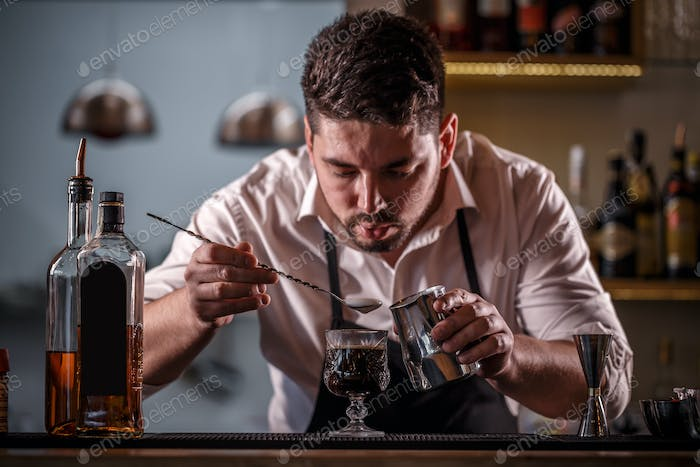 Bartender decorated coffee cocktail