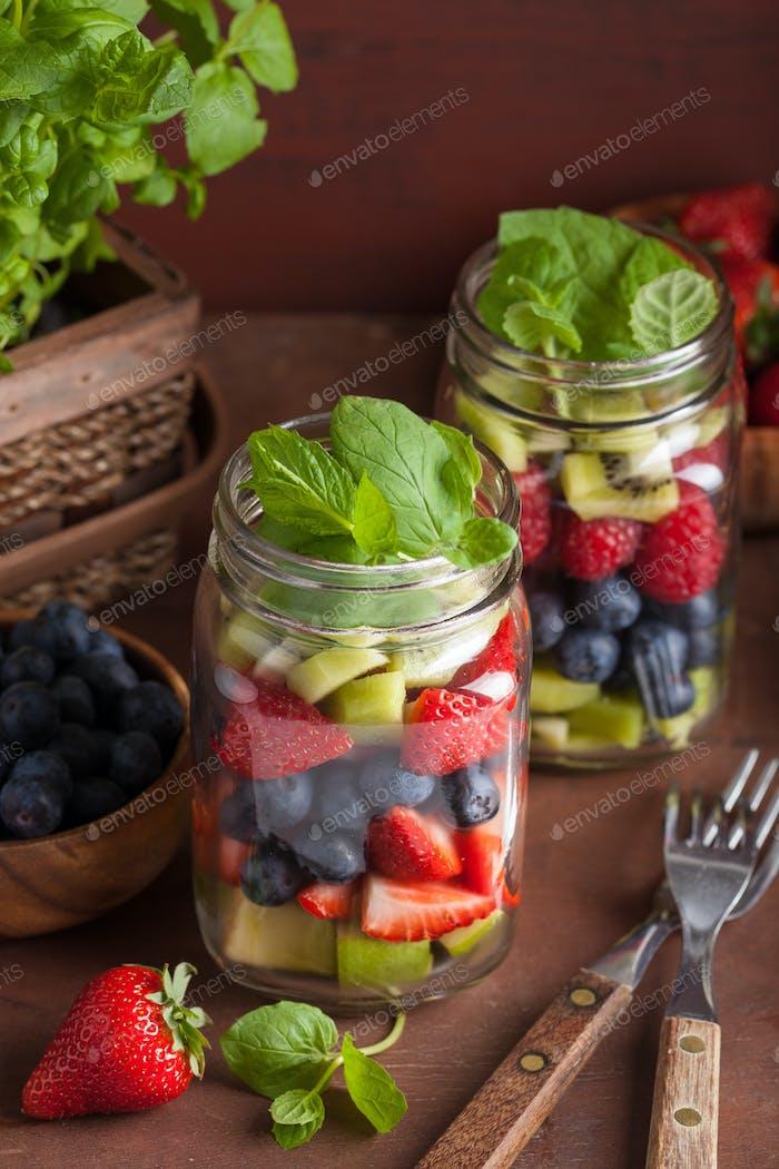 fruit salad in mason jar strawberry blueberry kiwi apple mint