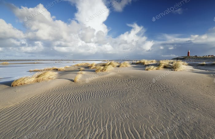 low tide on sand beach by North sea