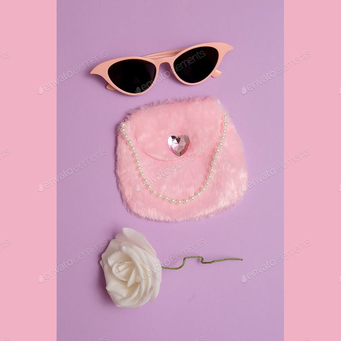 Fashion accessories for Lady Retro Sunglasses, clutch. Pink vintage wedding vibes