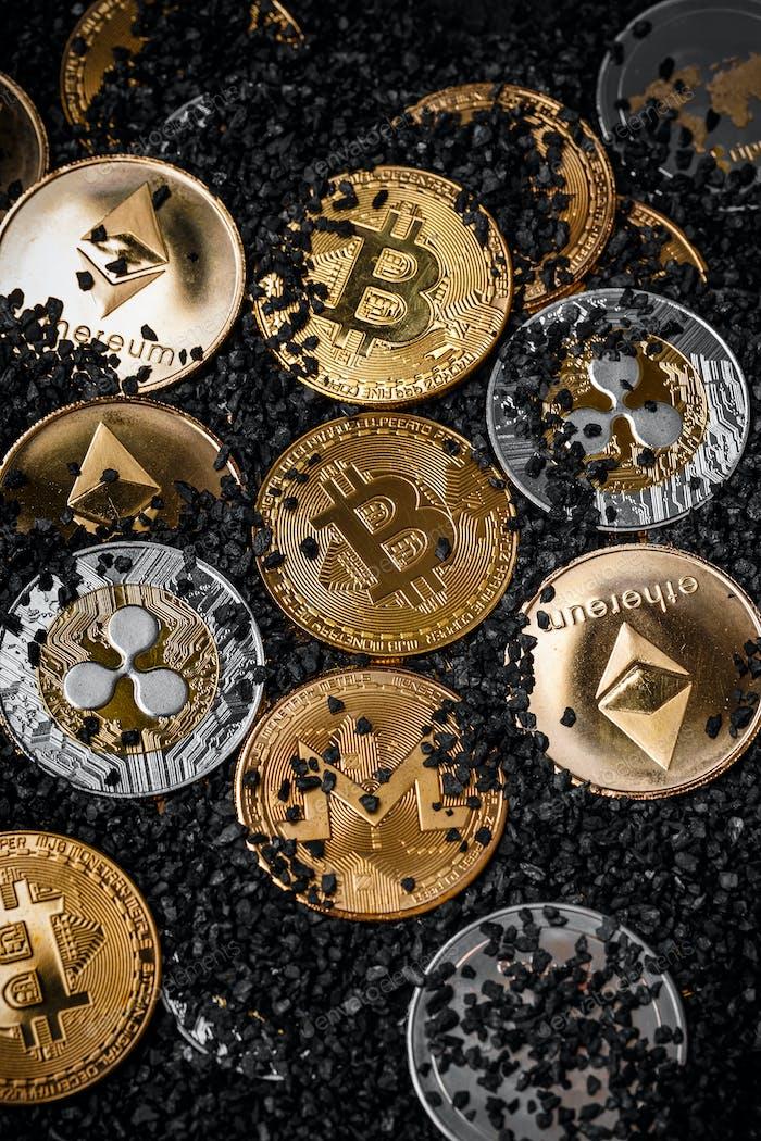 Haufen Kryptowährungen