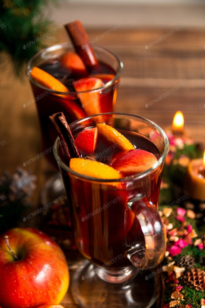 Close up of Christmas mulled wine