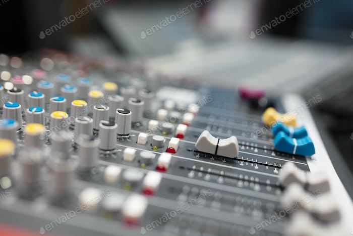 Sound mixer in radio broadcasting and music recording studio
