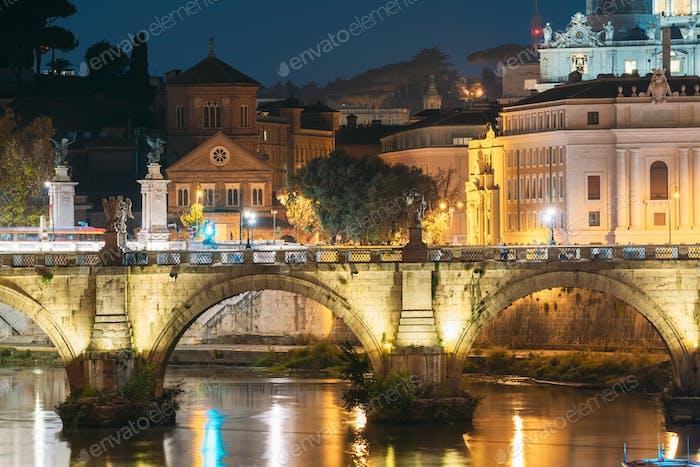 Rome, Italy. Hospital Of Holy Spirit And Aelian Bridge In Evenin