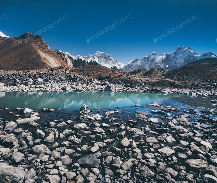 The boulders. Gokyo Lake. Himalayas