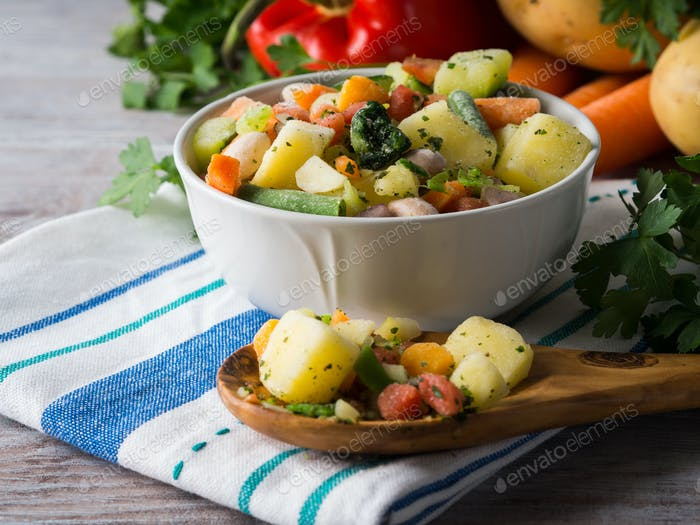 Frozen vegetables prepared for quick meals