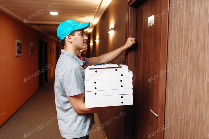 Pizza delivery boy knocking on door of customer