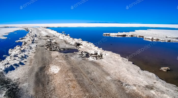 Road through the Salar de Uyuni in Bolivia